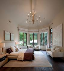 chandelier high ceiling bedroom contemporary with white walls high