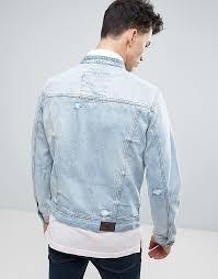 light distressed denim jacket hollister hollister denim jacket grandad collar distressed light wash