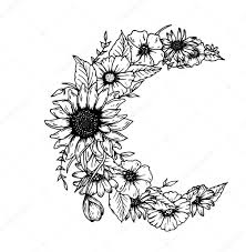 beautiful flowers and leaves decorated crescent moon on white