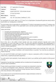 vacancy syfr ict applications developer closing date 25th