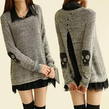 popular women skull chiffon shirt knitted pullover sweater dress