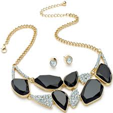 chunky gold necklace fashion images Ladies costume style chunky diamante crystal encrusted geometric jpg
