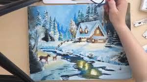 time lapse tutorial christmas winter scene painting youtube