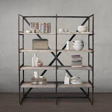 Reclaimed Wood And Metal Bookcase Welded Steel And Reclaimed Wood Bookshelf Bookcase Dark Stained