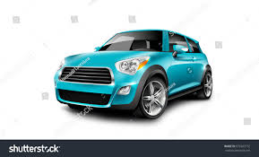 turquoise generic compact small car on stock illustration