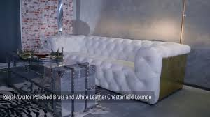 White Leather Chesterfield Sofa by Regal Aviator Polished Brass And White Leather Chesterfield Lounge