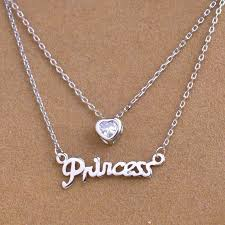 heart chain choker necklace images Two layer princess heart gold silver bar stick letter chain choker jpg