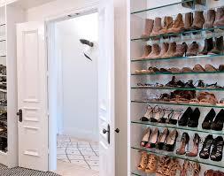 Closet Door Shoe Storage Walk In Closet With Bi Fold Doors With Glass Shoe Shelves