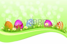 beautiful easter background strawberry and coloured eggs for