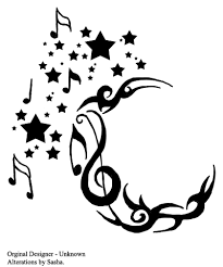 crescent star music notes tattoo ideas tattoomagz