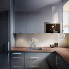 Ikea Wood Kitchen Cabinets by Ikea Glossy Gray Cupboards Mixed With Strong Wooden Worktops
