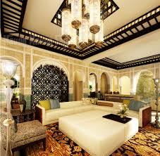 moroccan home interior design with unique room divider and solid