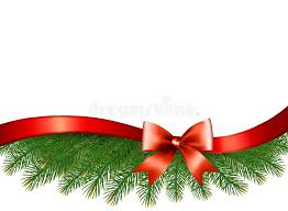 background with christmas tree branches and a red ribbon stock