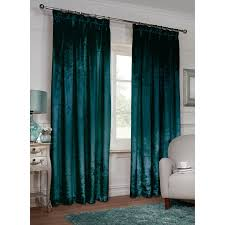 Teal Curtains Versailles Crushed Velvet 3