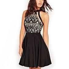 halter neck dreaweet women s mesh vintage floral lace swing halter neck