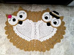 Crochet Owl Rug Large Hand Crocheted Light Brown Owl Rug Husband And Wife Couple