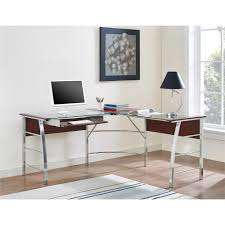 Glass L Shaped Desk L Shaped Desks Home Office Furniture The Home Depot