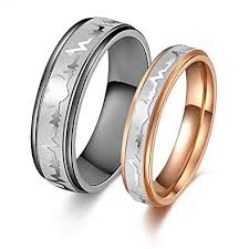 his and hers matching wedding bands his or hers matching set heart beat chart titanium