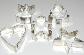 vintage 5 pc aluminum cookie cutters from