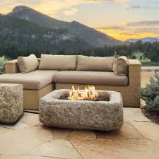 Home Depot Firepits by Real Flame Antique Stone 37 In Square Propane Gas Fire Table In