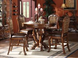 cherry dining room set acme dresden 5 pc round counter height dining table set in brown