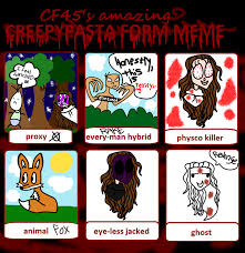 Creepypasta Memes - creepypasta form meme by thatredgirl on deviantart