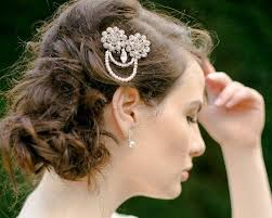 bridal hair clip 1920 s style pearl hair clip with crystals rhinestones carey