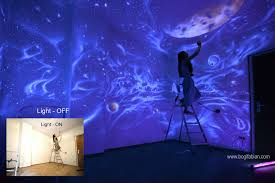 Glow In The Dark Stars Bedroom When The Lights Go Out My Glowing Murals Turn These Rooms Into