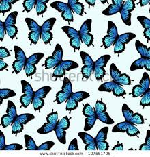 seamless vector pattern blue papilio ulysses stock vector