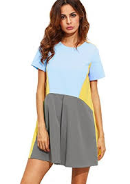 shein s sleeve pockets color block casual swing