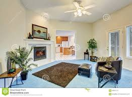 Livingroom Carpet Georgous Living Room With Bright Blue Carpet Stock Photo Image
