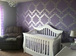 Purple Nursery Decor Baby Nursery Decor Wall Decal Silver Pattern Purple Baby