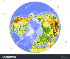 North Pole Map World Physical Vector Map Centered On Stock Vector 17537461