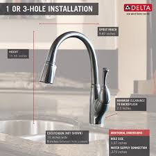 delta allora kitchen faucet single handle pull kitchen faucet 989 ar dst delta faucet
