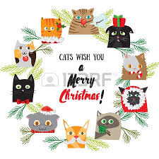 new year post cards vector christmas banners with cats kittens new years