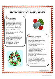 remembrance day poems worksheet free esl printable worksheets