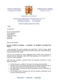 letter to home secretary from gen sec of pfew re increase in