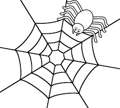spider on the top of web coloring page halloween