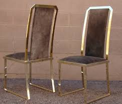 High Back Chairs by Set Of Six Brass And Split Cowhide High Back Chairs By Roche