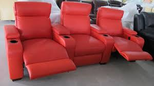 modern three pieces red leather reclining lazy chair with