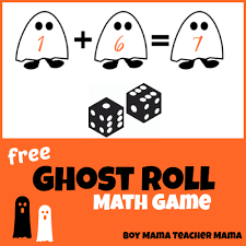 teacher mama free ghost roll math game for halloween boy mama
