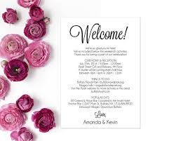 Wedding Itinerary Itinerary Wedding Welcome Letter Wedding By Modernsoiree On Zibbet