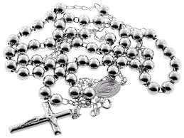 silver rosary mens cross necklace 7 mm 24 28 inch