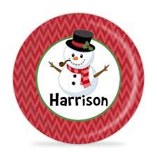 personalized melamine platter winter snowman plate christmas snowman melamine personalized