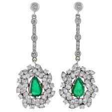 dramatic earrings retro dramatic emerald diamond gold earrings at 1stdibs