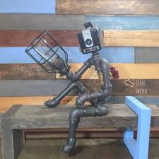 robot lamp pipe lamp industrial decor steampunk lighting pipe
