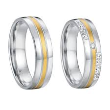 white gold wedding ring sets titanium cz diamond engagement wedding rings pair men and