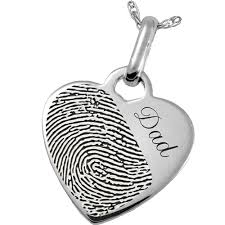 memorial jewelry fingerprint memorial jewelry sterling silver heart pendant