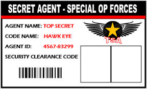 secret agent spy id badge give everyone at your spy party a