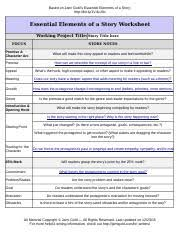 story development and revision worksheet based on john truby u0027s
